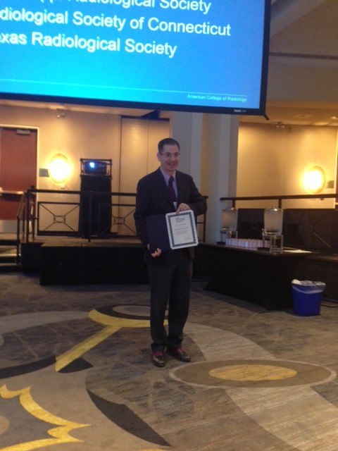 Andrew Rivard, MD of the Mississippi Radiology Society awarded the Overall Excellence Award 2014 at ACR AMCLC.